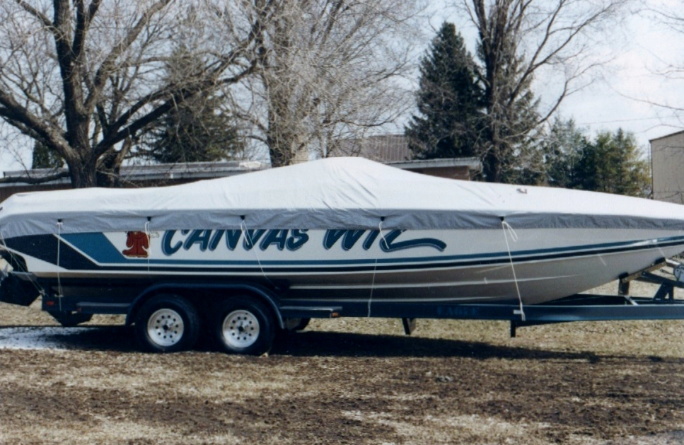 Custom Sunbrella Boat Cover: Canvas Wiz Baja tie down mooring cover