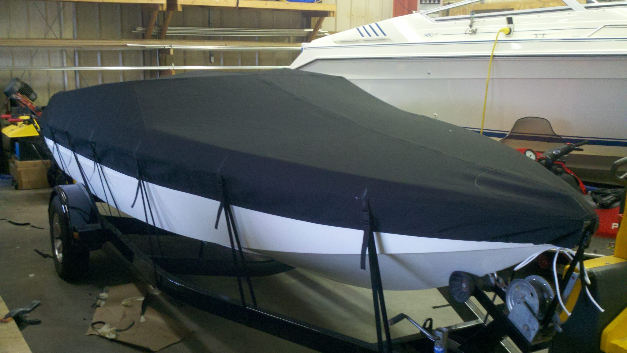Custom Sunbrella Boat Cover: Scarab mooring cover with trailering straps