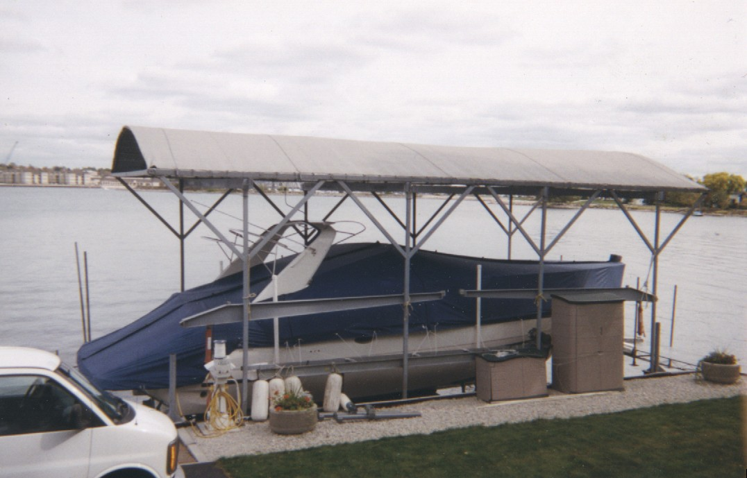 Custom Sunbrella Boat Cover: Express cruiser tie down mooring cover