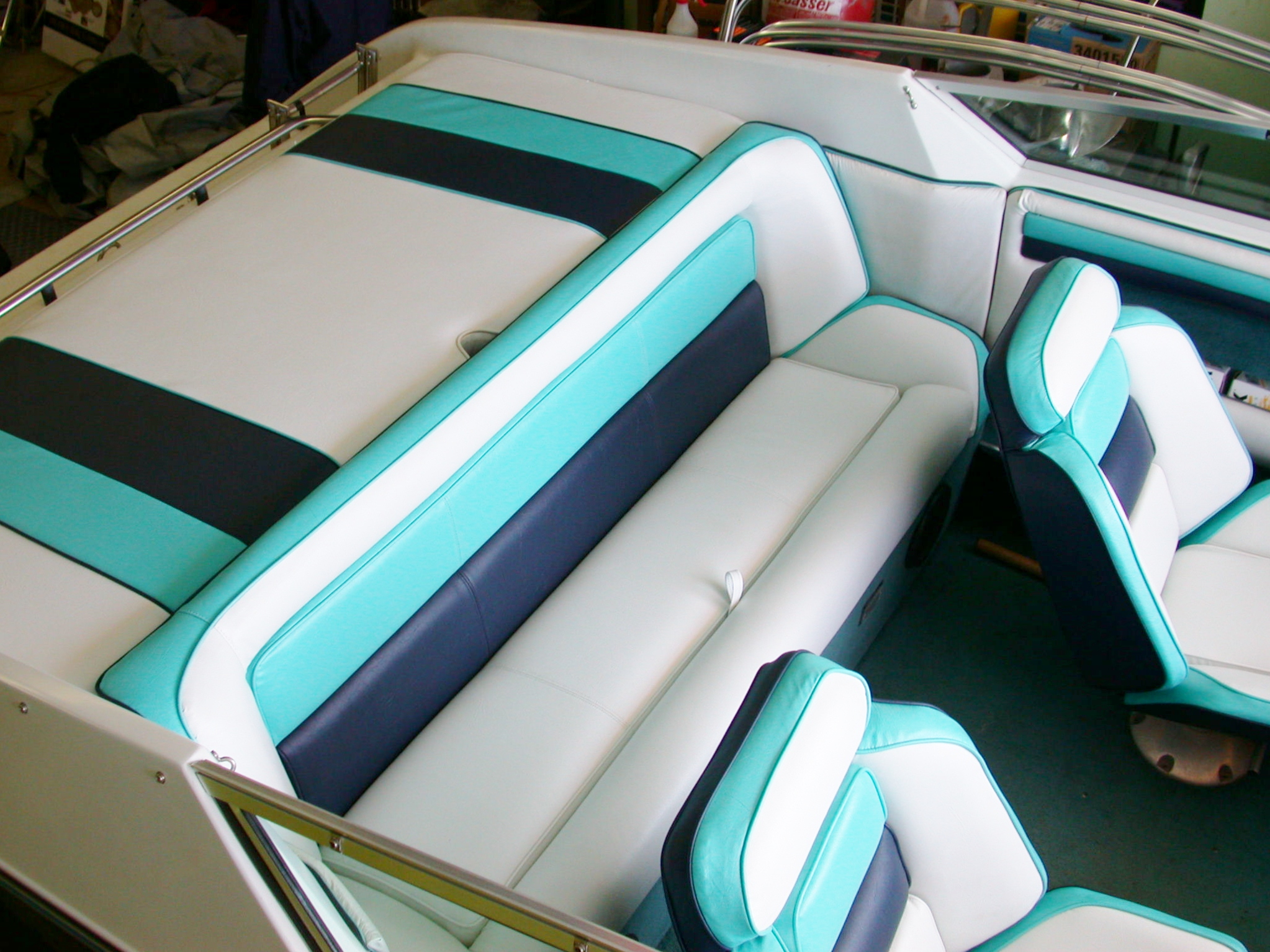 Custom Marine Interiors, Upholstery, And Carpeting: Front View Of Complete Interior  Boat Project