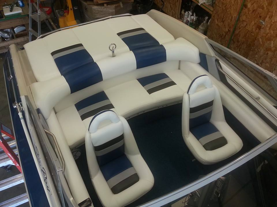 Custom Marine Interiors, Upholstery, and Carpeting: Front view of the Sea Ray Pachanga 22 completed project