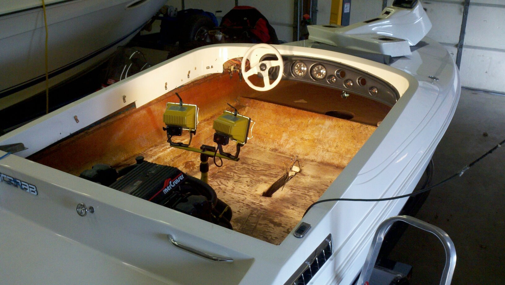 Custom Marine Interiors, Upholstery, and Carpeting: Wellcraft Scarab with upholstery and carpeting taken out