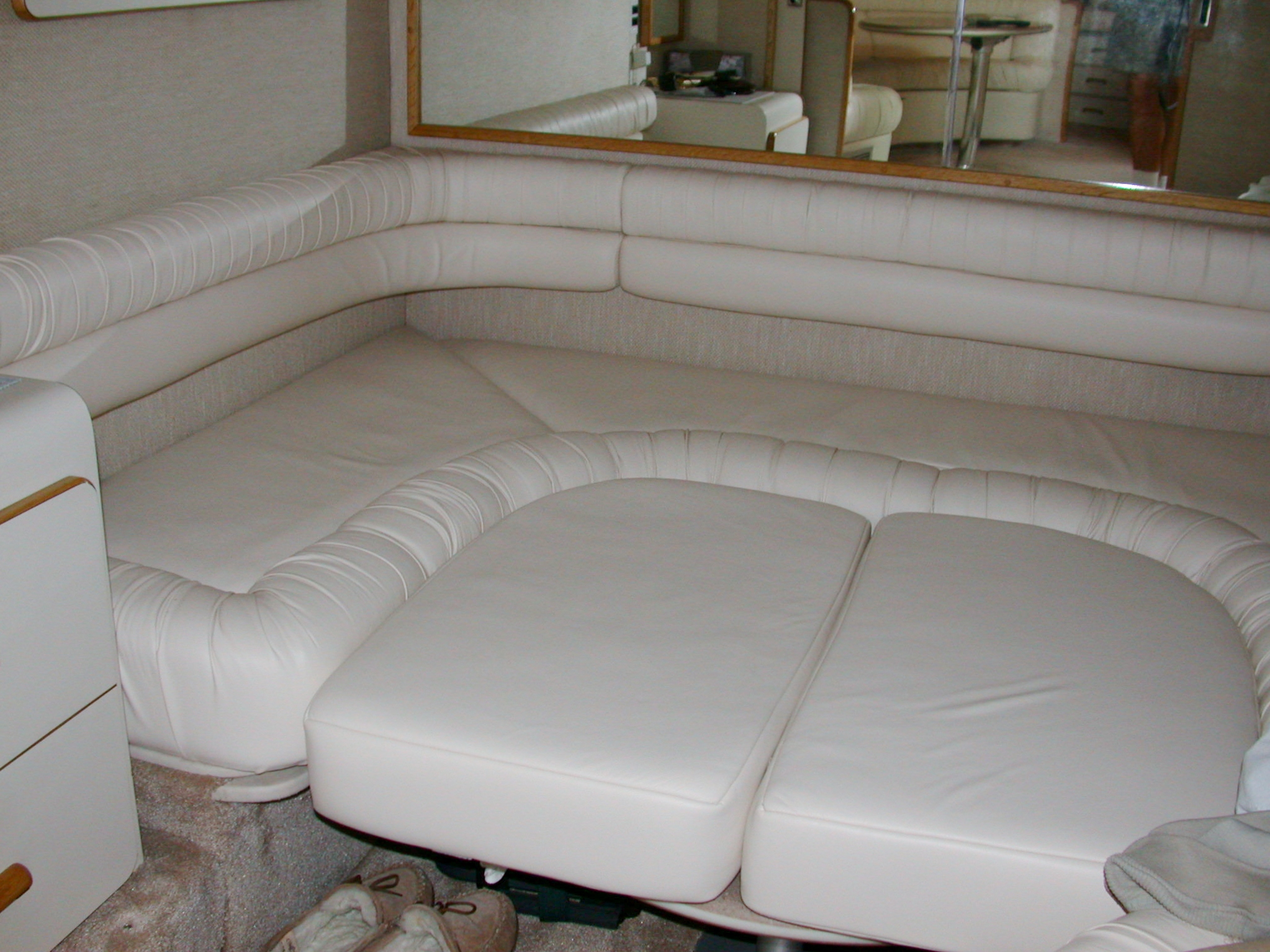 Custom Marine Interiors, Upholstery, and Carpeting: 440 Sea Ray Sundancer aft cabin with ultra leather upholstery and filler cushions