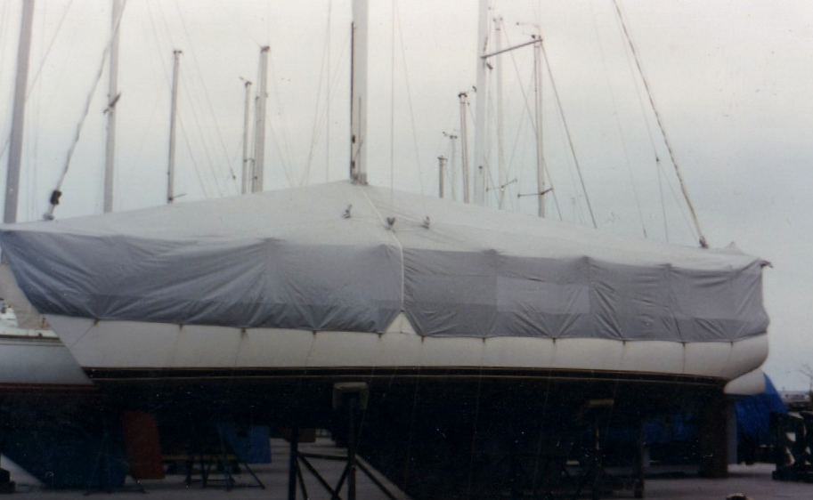 Custom Marine/Boat/Yacht Winter Cover: 2 piece winter cover for sail boat with cutouts